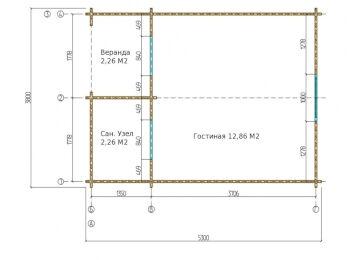 Дом 3.8х5.3 м (с сан. узлом) 002