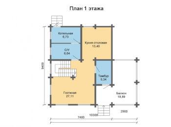 Жилой дом 9,4 х 10,3 м 005