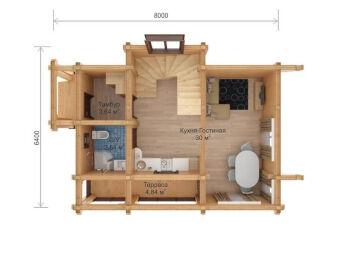 Дом 6,4 х 8 м, 2 этажа,  002