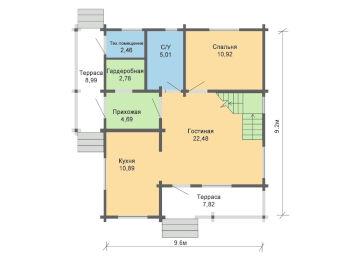 Жилой дом 9,6 х 9,2 м 005