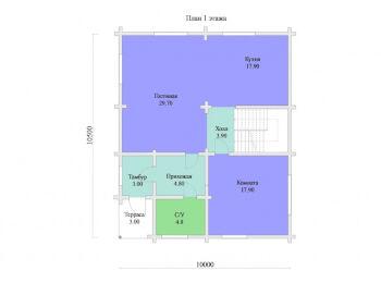 План 1 этажа дома 10 х 10,5 м