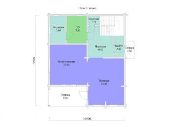 План 1 этажа дома 9,5 х 10,5 м