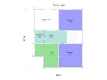 План 2 этажа дома 10 х 10,5 м