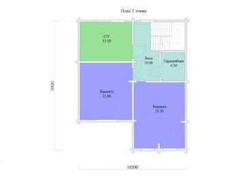 План 2 этажа дома 9,5 х 10,5 м